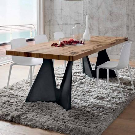 Küchentisch aus Holz und Metall Made in Italy, Hohe Qualität - Dotto