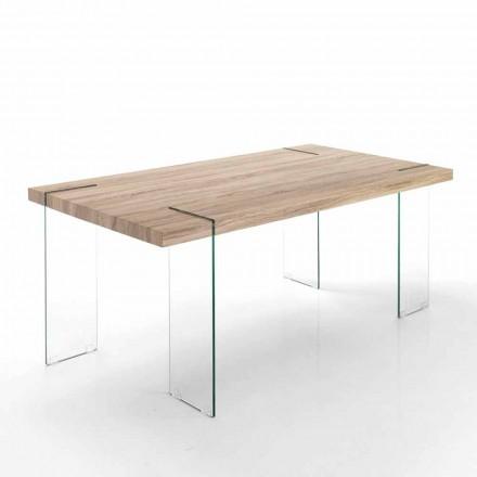 moderner Küchentisch mit Tischplatte aus Mdf und Glasbasis - Joey