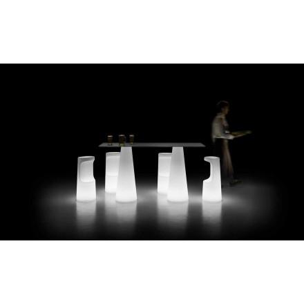 Design Außentisch mit Leuchtfuß mit LED-Leuchten Made in Italy - Forlina