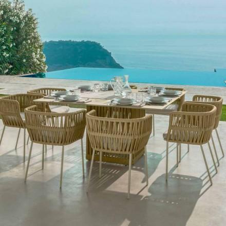 Gartentisch viereckig aus Alluminium 150 cm  Cliff Talenti Design Palombo