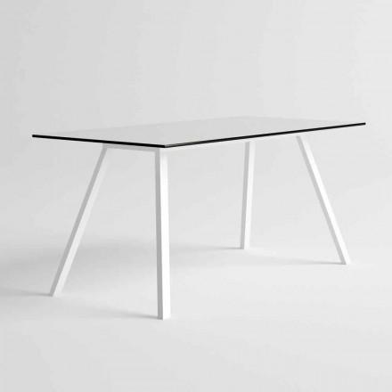 Gartentisch aus modernem Design aus weißem Aluminium und HPL-Laminat - Oceania2