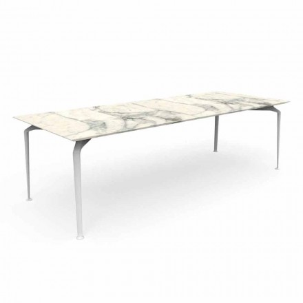 Moderner rechteckiger Gartentisch aus Steinzeug und Aluminium - Cruise Alu Talenti