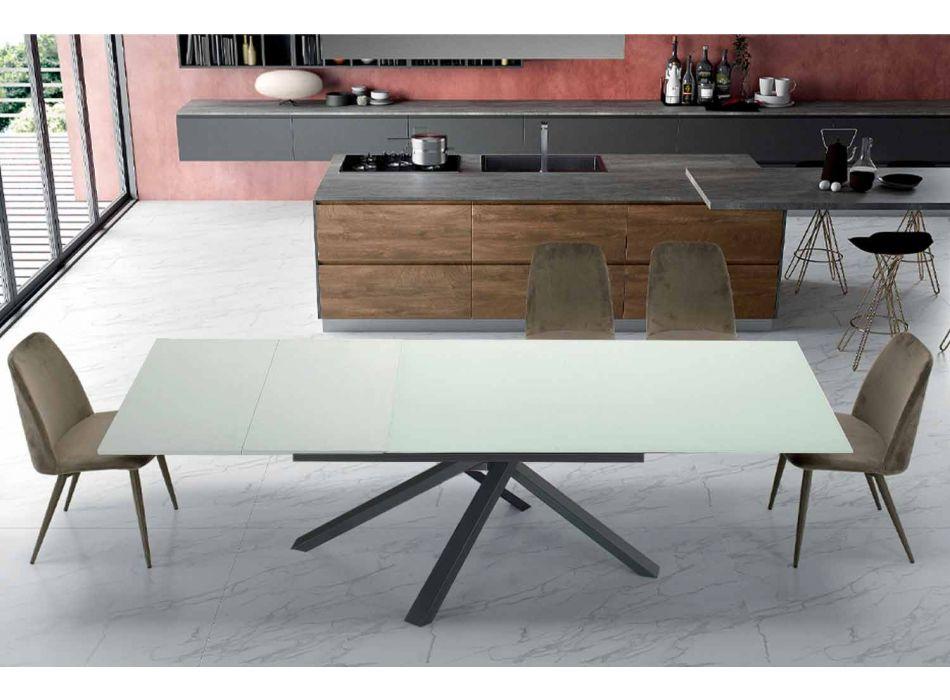 Ausziehbarer Esstisch auf 260 cm in modernem Designglas - Gabicce