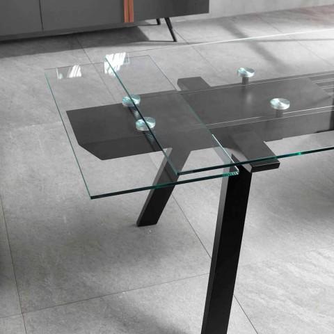 Ausziehbarer Esstisch mit Glasplatte und Eschenfuß, Empoli