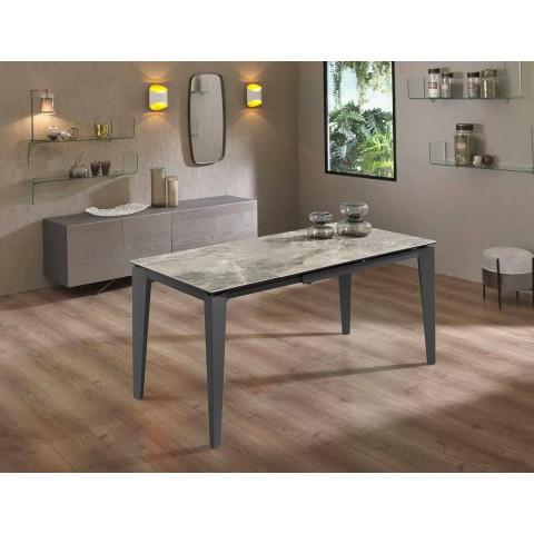 Ausziehbarer Esstisch Bis zu 170 cm in modernem Metall und Keramik - Syrta