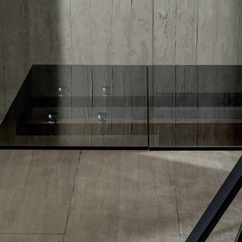 Ausziehbarer Esstisch Bis zu 240 cm in schwarz geräuchertem gehärtetem Glas - Fener