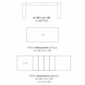 Ausziehbarer Esstisch aus Melaminholz made in Italy, Oky