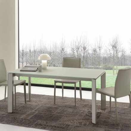 Ausziehbarer Esstisch mit gehärteter Glastischplatte - Faleria