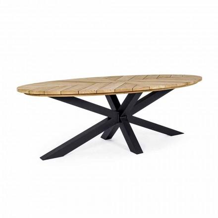 Esstisch im Freien mit ovaler Platte aus Teakholz, Homemotion - Selenia