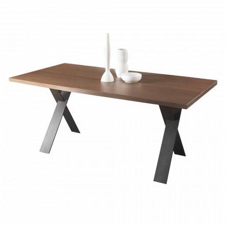 Design Esstisch mit Eichen- oder Walnussholzplatte Made in Italy - Lucas