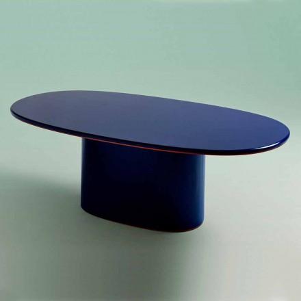 Ovaler Esstisch mit modernem Design aus blauem MDF und Kupfer Made in Italy - Oku