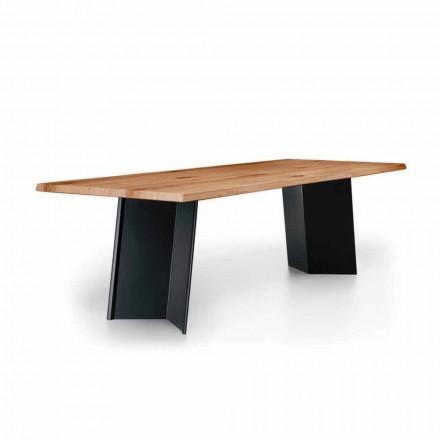 Design Esstisch mit geknoteter Eichenplatte Made in Italy - Simeone