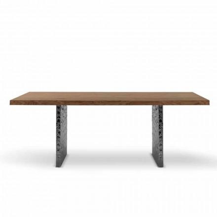 Esstisch aus Furnierholz und gehämmertem Stahl Made in Italy – Strappo