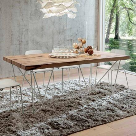 Esstisch aus Furnierholz und Edelmetall Made in Italy - Eolo