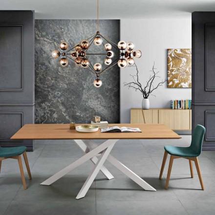 Moderner Esstisch aus MDF-Holz und Metall, hergestellt in Italien, Dionigi