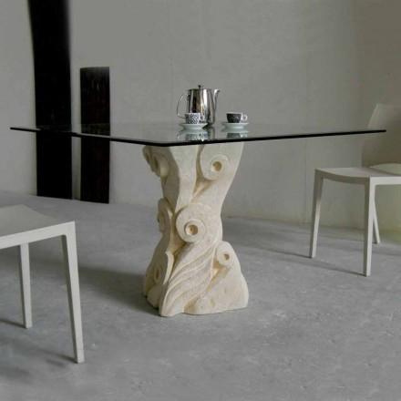 Esstisch aus Stein mit Kristall Tischplatte in modernem Design Giasone