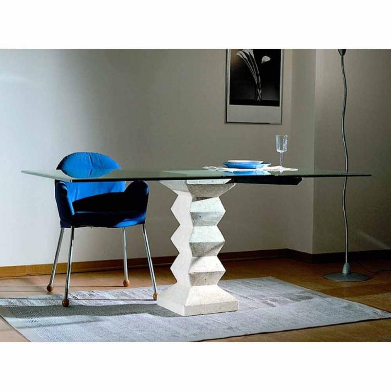 Stein Esstisch und Glas modernes Design Bacchus