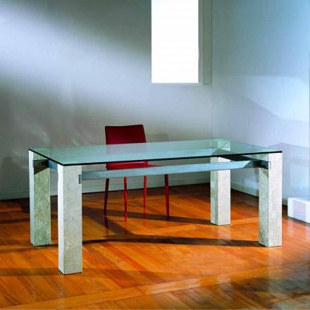 Moderner Tisch aus Stein und Kristall Ebea