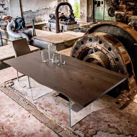 Moderner Esstisch 100x200cm aus Holz mit Beinen aus Glas Flora