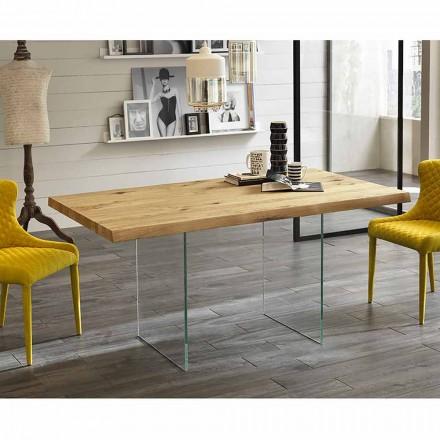 Moderner Esstisch aus furniertem Eichenholz mit Glasfuß - Nico