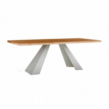 Esstisch aus Holz und Weißmetall, Hochwertig Made in Italy - Miuca