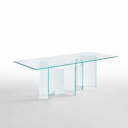 Moderner Esstisch aus extraleichtem oder geräuchertem Glas Made in Italy - Zufällig