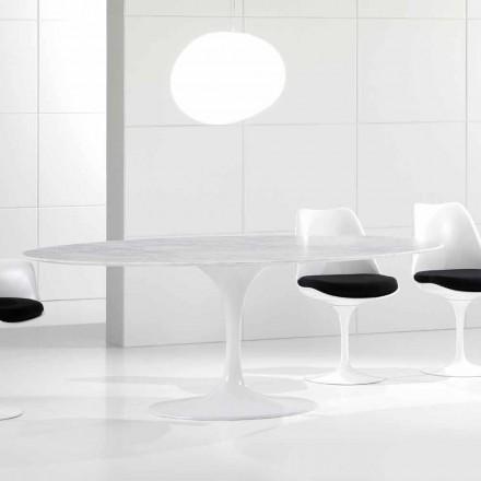 Luxus oval Esstisch, Carrara Marmorplatte, Made in Italy - Nerone