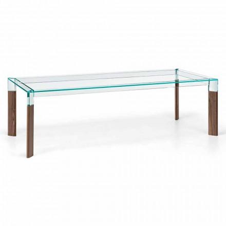 Esstisch Glasplatte und Massivholzbasis Made in Italy - Presino