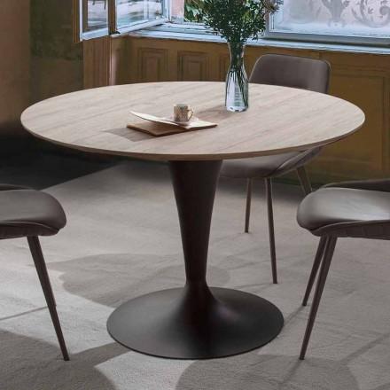 Runder Esstisch mit Platte aus Eichenholz - Moreno