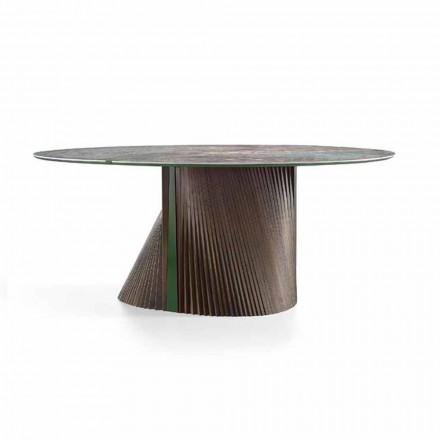 Runder Luxus-Esstisch aus poliertem Steinzeug und Holz Made in Italy - Madame