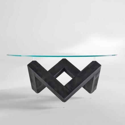 Moderner Esstisch mit drehbarer Glastischplatte aus Fichtenholz  Bao