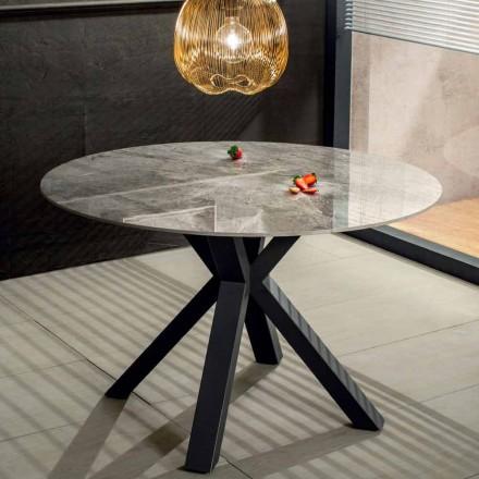 Moderner runder Esstisch aus Keramik Marmor-Effekt und Metall - Jarvis