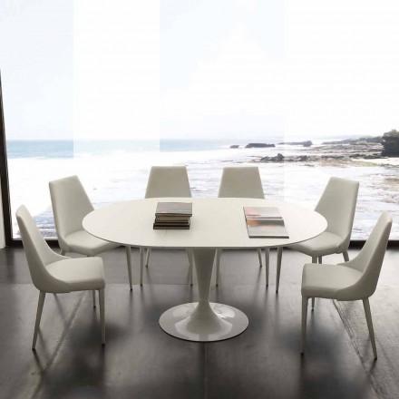 Runder Esstisch ausziehbar bis 170 cm Topeka, in modernem Design