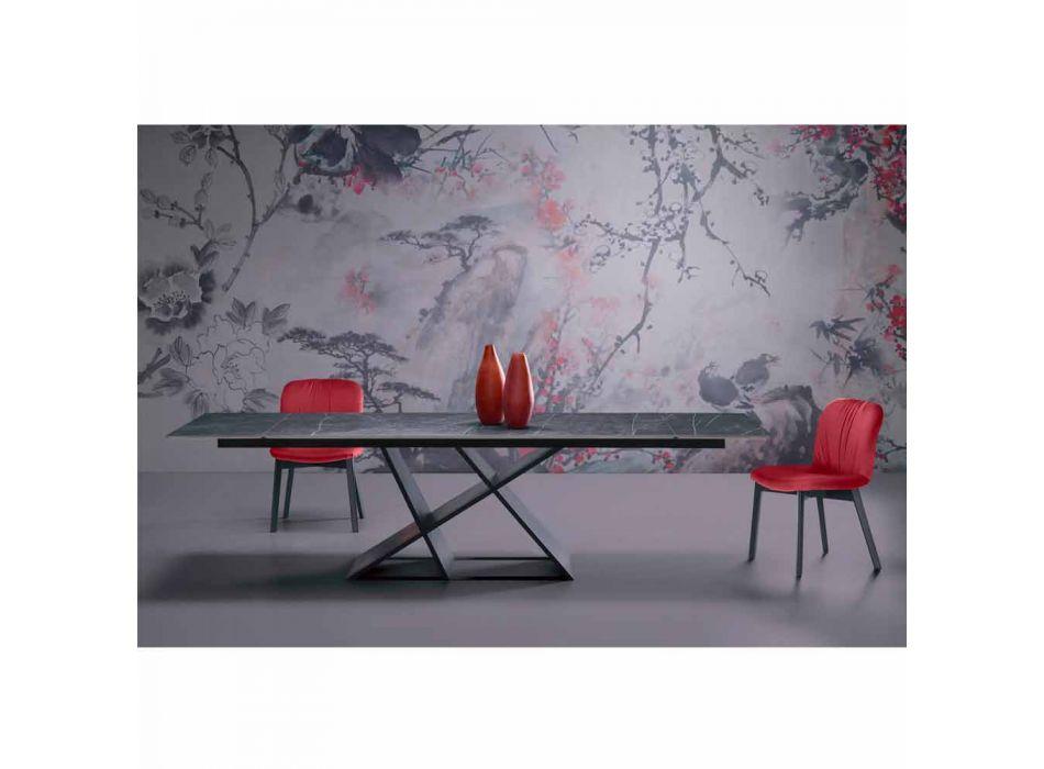 Ausziehbarer Designtisch Bis zu 294 cm mit Made in Italy Gres Top - Cirio