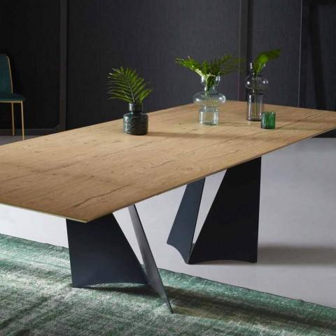 Ausziehbarer Designtisch Bis zu 294 cm in Holz und Metall Made in Italy - Nuzzo