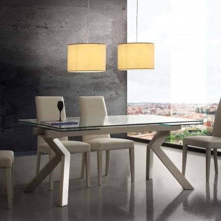 Moderner Tisch ausziehbar aus Metall und Glas Mesa