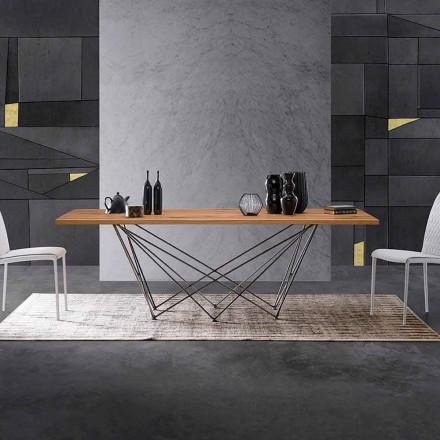 Design Esstisch mit einer Platte aus Holz und einem Gestell aus Metall, Esperia