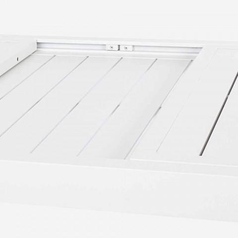 Gartentisch im Freien aus weißem Aluminium oder ausziehbarer Taube - Franz