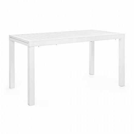 Ausziehbarer Gartentisch Bis 240 cm in Weiß oder Turteltaube Aluminium - Franz