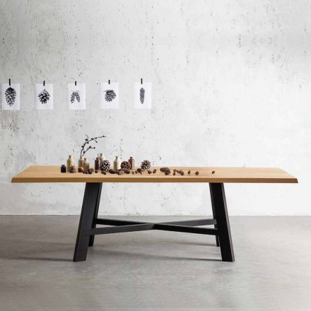 Fester Designtisch mit Massivholzplatte - Crackle