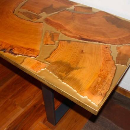 Fester rechteckiger Tisch aus Holz und Harz, Design made in Italy Jam