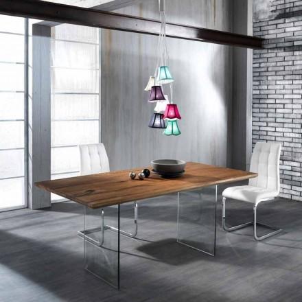 Fester Tisch aus Massivholz mit Tito Hartglasbeinen