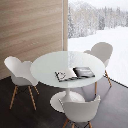 Runder Tisch aus Glas extraklar und Stahl in modernem Design Aurora