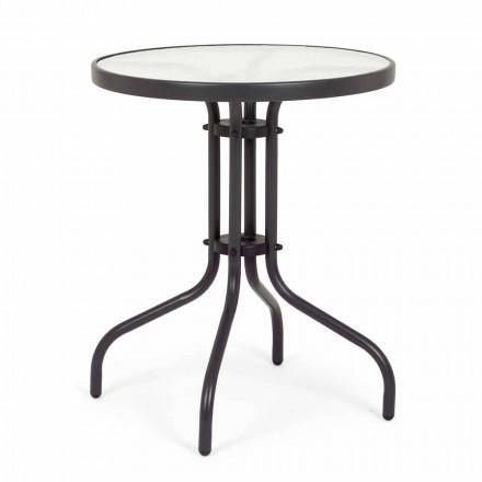 Runder Gartentisch aus Stahl mit Designglasplatte - Purizia