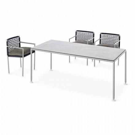 Outdoor-Tisch aus modernem Design aus Stahl und Quarz Made in Italy - Ontario7