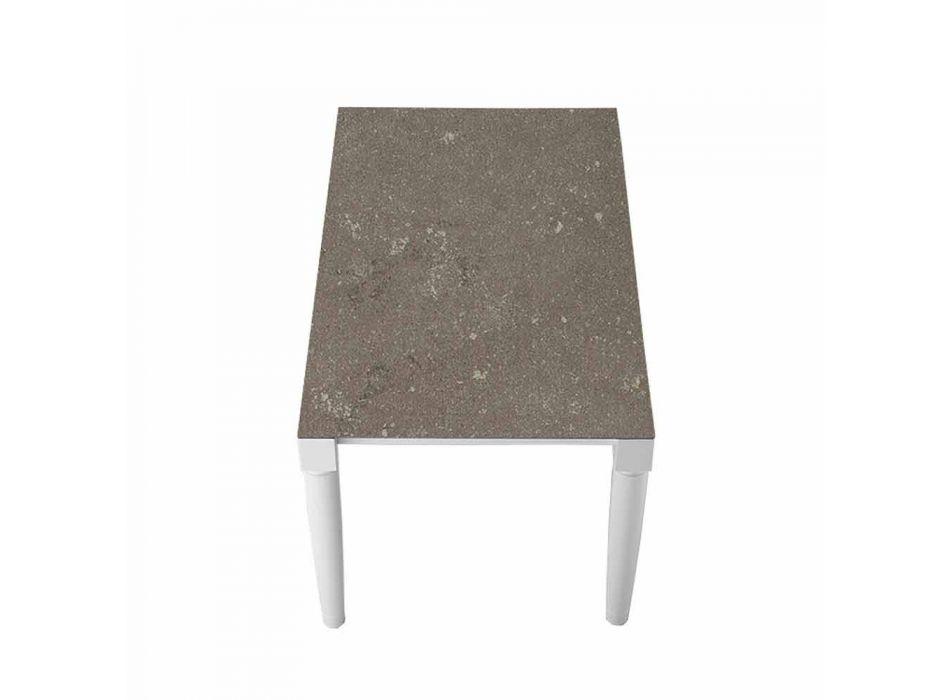6 Sitzer Design Keramiktisch und weiße Holzbeine - Claudiano