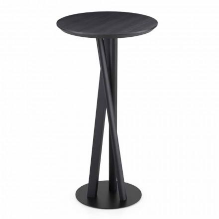 Tisch aus massiver Esche und Metall mit runder Platte Made in Italy - Baden