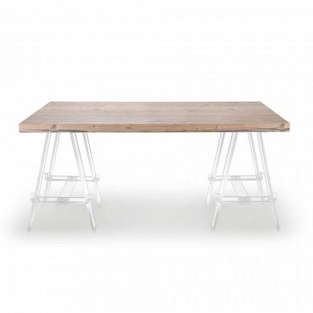 Holztisch mit Böcken aus Plexiglas Made in Italy - Staffelei
