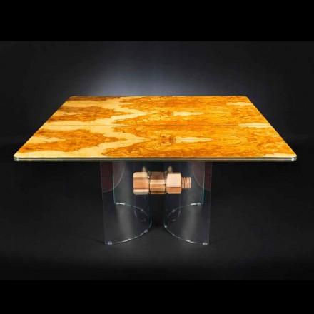Viereckiger Tisch aus Olivenbaumholz und Glas Portofino