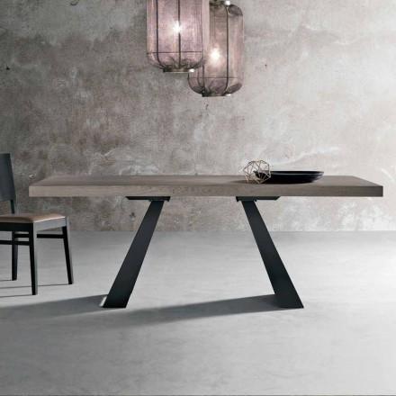 Moderner Tisch aus geknotetem Eichenholz, hergestellt in Italien, Zerba